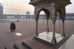 Früher Morgen bei Jama Masjid, Delhi, Indien Lizenzfreie Stockfotos