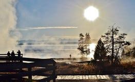 Früher Morgen-Dampf Yellowstone Lizenzfreie Stockfotos
