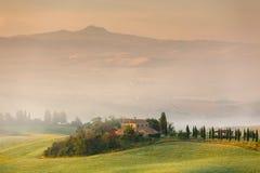 Früher Morgen in Toskana, Italien Stockfotografie