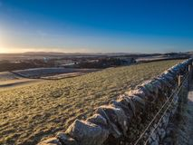 Früher Morgenspaziergang im Pentlands Stockfotos