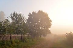Früher nebelhafter Morgen im Dorf Stockbilder