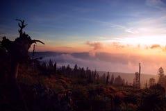 Früher Sonnenaufgang in den Bergen Stockbilder