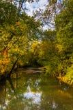 Frühherbstfarbe entlang einem Nebenfluss in ländlichem Adams County, Pennsylv Stockbilder