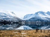 Frühjahr in den Lyngen-Alpen, Norwegen Stockbild