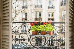 Frühjahr mit roten Pelargonien auf einem Balkon in Paris, Frankreich lizenzfreies stockbild