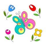 Frühjahrblumen und Schmetterlinge, Vektor Lizenzfreie Stockfotos