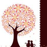 Frühjahrblumenbaum mit Liebeskatzen Lizenzfreies Stockbild