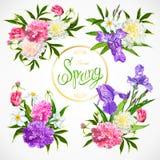 Frühjahrskollektion Blumengestecke Lizenzfreies Stockfoto