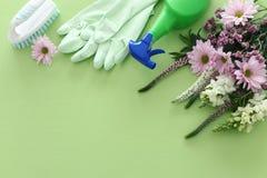 Frühjahrsputzkonzept mit Versorgungen über grünem hölzernem Pastellhintergrund Draufsicht, flache Lage lizenzfreie stockfotografie