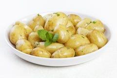 Frühkartoffeln mit Butterpetersilie und -minze stockfoto