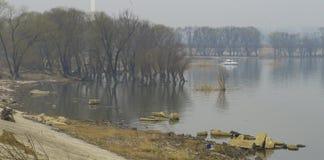 Frühling auf dem Ufer von Gaoyou See stockbild