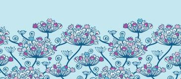 Frühling blüht horizontale Grenznahtloses Muster stock abbildung