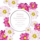 Frühling blüht runden Kartenhintergrund des Blumenstraußes Schöne Postkarte für Hochzeiten, Geburtstag, Jahrestag Vektor stock abbildung