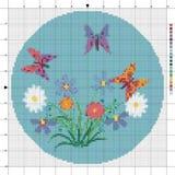 Frühling Blumen und butterflys Kreuzstichentwurf Stock Abbildung
