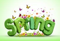 Frühling 3D übertrug Text für Frühlings-Plakat-Design-Illustration Stockbilder