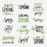 Frühling, der Grün- und Schwarzsatz beschriftet Lizenzfreie Stockfotografie