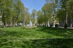 Frühling im parkZrinjevac in der Stadt Zagreb Stockbild