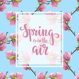 Frühling ist in der Luft Hand gezeichnete Bürstenstiftbeschriftung auf Blumenmagnolien-Baummuster stock abbildung