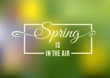 Frühling ist in der Luftbeschriftung Vektor Vektor Abbildung