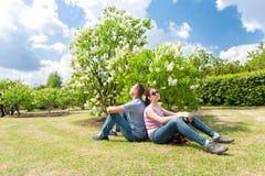 Frühling ist die kommende Familie, die nahe weißem Fliederbusch stillsteht Stockbild