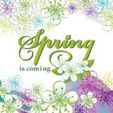 Frühling kommt Wort, Blumen, gewellte Linien Stockfotos