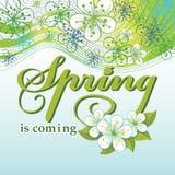 Frühling kommt Wort, Blumen, gewellte Linien Lizenzfreie Stockbilder