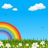 Frühling oder Ostern-Hintergrund mit Regenbogen lizenzfreie abbildung
