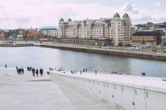 Frühling in Oslo, Norvegia Ansicht strets, Natur in Oslo Lizenzfreies Stockbild