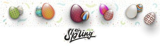 Frühling Ostern ist eine schöne Ausweisbeschriftung und das Muster von Eiern und von Blumen, wie einer Fahne für soziale Netzwerk vektor abbildung