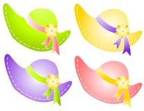 Frühling Sunbonnet Hüte mit Blumen-Farbband Lizenzfreie Stockfotos