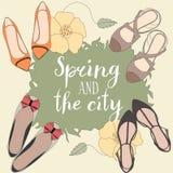 Frühling und die Stadtvektorkarte Lizenzfreie Stockfotos