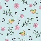 Frühling, Vögel und Musik Gekritzel und Karikatur Nahtloses Muster lizenzfreie abbildung