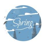 Frühlings-Aufkleber-Vektor-typografisches Plakat oder Gruß-Karten-Design Lizenzfreie Stockbilder