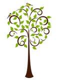 Frühlings-Baum mit Vögeln stock abbildung