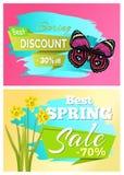 Frühlings-bester Rabatt 30 weg vom Verkaufs-Satz Poster lizenzfreie abbildung