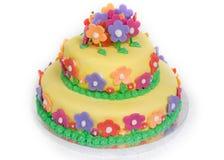 Frühlings-Blumen-Kuchen auf Weiß Lizenzfreie Stockbilder