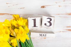 Frühlings-Blumen und Holzklötze mit Mutter-Datum, am 13. Mai, Stockfotos