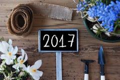Frühlings-Blumen, Zeichen, Text 2017 Stockfoto