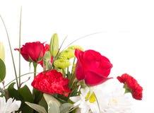 Frühlings-Blumenstrauß auf weißem Hintergrund Stockbild