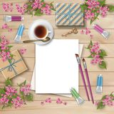 Frühlings-Draufsicht-Hintergrund Stockbilder