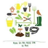 Frühlings-Gartenarbeit-Werkzeug-Satz-Hintergrund, flache Vektor-Illustration Lizenzfreies Stockfoto