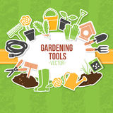 Frühlings-Gartenarbeit-Werkzeug-Satz, Vektor-Illustration Lizenzfreies Stockfoto