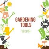 Frühlings-Gartenarbeit-Werkzeug-Satz, Vektor-Illustration Stockfotografie