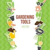 Frühlings-Gartenarbeit-Werkzeug-Satz, Vektor-Illustration Stockfotos
