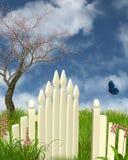 Frühlings-Gartentor Stockfoto