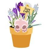 Frühlings-glückliches Ostern-Gestaltungselement, Häschen im Topf mit Gras-, Krokus-, Vergissmeinnicht- und Kamillenblumen lizenzfreie abbildung