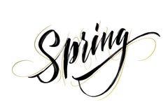 Frühlings-handgeschriebene Beschriftung Schöne moderne Kalligraphie Lokalisiert auf Weiß für einfachen Gebrauch Auch im corel abg Stockfoto