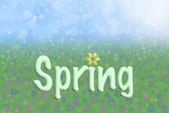 Frühlings-Hintergrund-Himmel-Gras blüht Text lizenzfreie abbildung