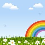 Frühlings-Hintergrund mit Regenbogen Stockfotos