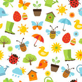 Frühlings-Ikonen-nahtloses Muster Stockbilder